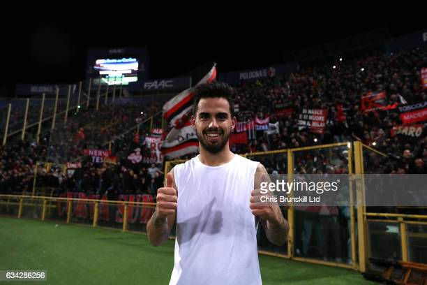 Suso of AC Milan celebrates at fulltime following the Serie A match between Bologna FC and AC Milan at Stadio Renato Dall'Ara on February 8 2017 in...
