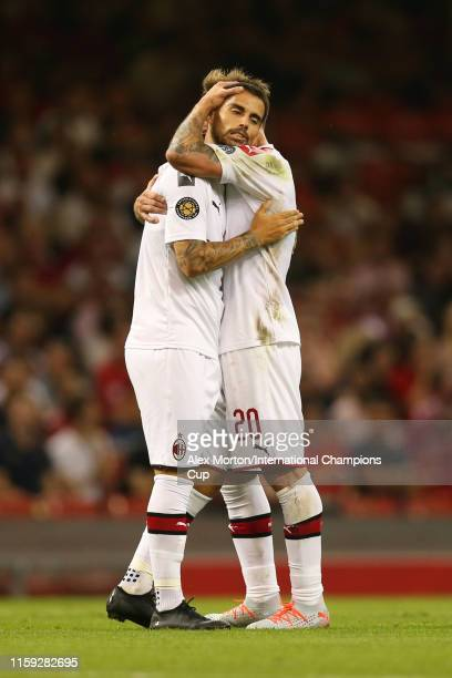 Suso of AC Milan celebrates scoring a goal to make it 11 during the 2019 International Champions Cup match between Manchester United and AC Milan at...