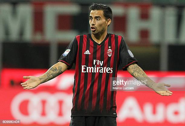 Suso of AC Milan gestures during the Serie A match between AC Milan and SS Lazio at Stadio Giuseppe Meazza on September 20 2016 in Milan Italy