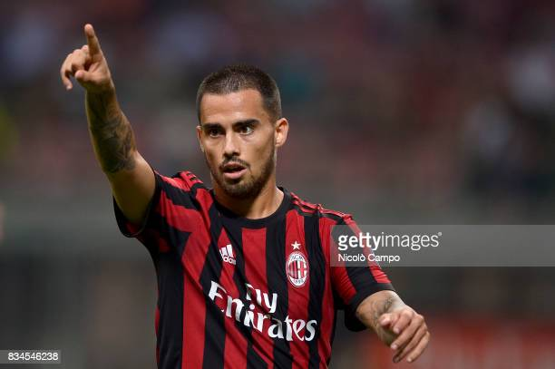 Suso of AC Milan gestures during the UEFA Europa League Qualifying PlayOffs Round First Leg match between AC Milan and KF Shkendija AC Milan wins 60...