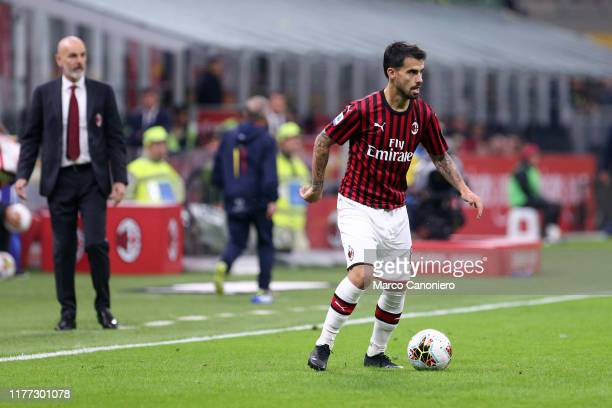 Suso of Ac Milan in action during the Serie A match between Ac Milan and Us Lecce The match ends in a draw 2 2