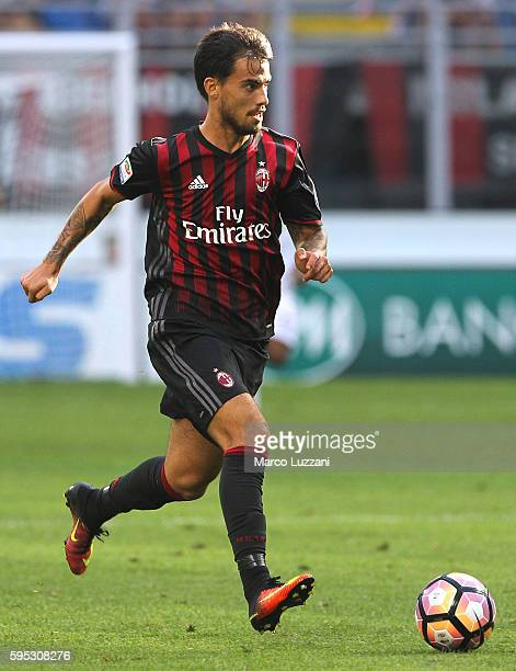 Suso of AC Milan in action during the Serie A match between AC Milan and FC Torino at Stadio Giuseppe Meazza on August 21 2016 in Milan Italy