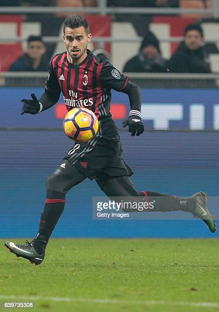 Suso of AC Milan in action during the Serie A match between AC Milan and SSC Napoli at Stadio Giuseppe Meazza on January 21 2017 in Milan Italy