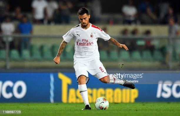 Suso of AC Milan in action during the Serie A match between Hellas Verona and AC Milan at Stadio Marcantonio Bentegodi on September 15 2019 in Verona...