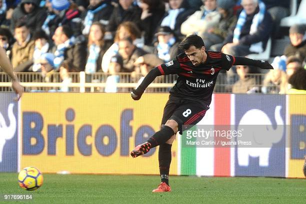 Suso of AC Milan in action during the serie A match between Spal and AC Milan at Stadio Paolo Mazza on February 10 2018 in Ferrara Italy
