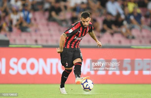 Suso of AC Milan in action during the serie A match between SSC Napoli and AC Milan at Stadio San Paolo on August 25 2018 in Naples Italy