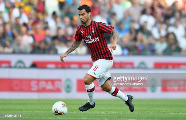 Suso of AC MIlan in action during the Serie A match between Udinese Calcio and AC Milan at Stadio Friuli on August 25 2019 in Udine Italy