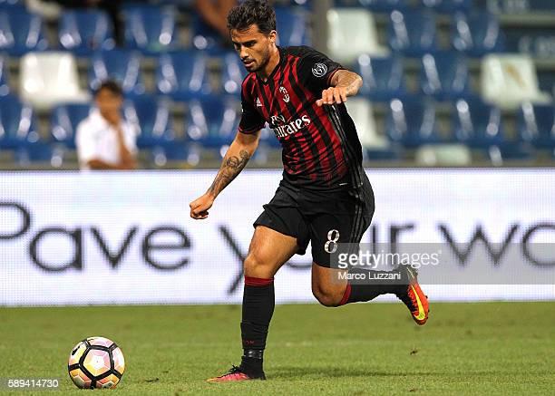 Suso of AC Milan in action during the TIM Preseason Tournament at Mapei Stadium Citta' del Tricolore on August 10 2016 in Reggio nell'Emilia Italy