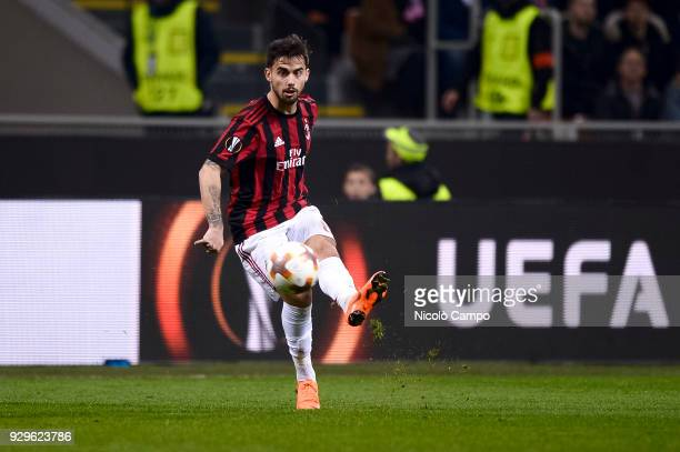 Suso of AC Milan in action during the UEFA Europa League Round of 16 match between AC Milan and Arsenal FC Arsenal FC won 20 over AC Milan