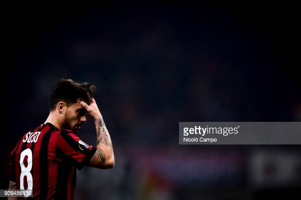 Suso of AC Milan looks dejected during the UEFA Europa League Round of 16 match between AC Milan and Arsenal FC Arsenal FC won 20 over AC Milan