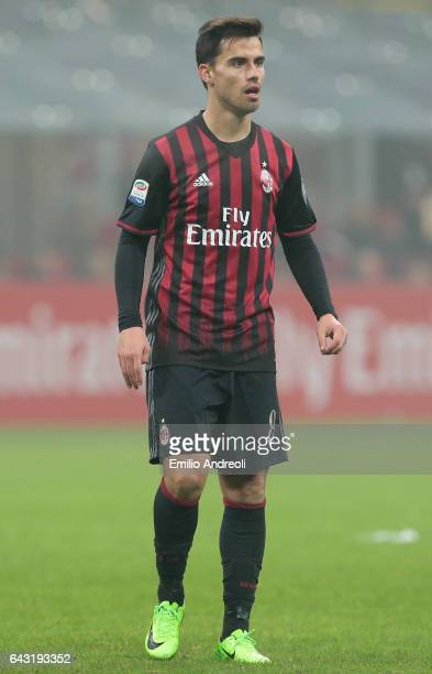Suso of AC Milan looks on during the Serie A match between AC Milan and ACF Fiorentina at Stadio Giuseppe Meazza on February 19 2017 in Milan Italy