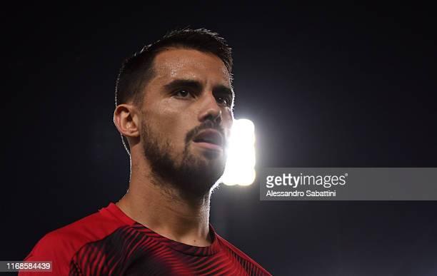 Suso of AC Milan looks on during the Serie A match between Hellas Verona and AC Milan at Stadio Marcantonio Bentegodi on September 15 2019 in Verona...