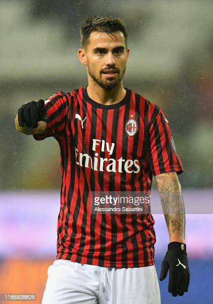 Suso of AC Milan looks on during the Serie A match between Parma Calcio and AC Milan at Stadio Ennio Tardini on December 1 2019 in Parma Italy