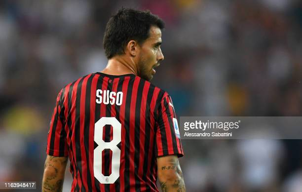 Suso of AC MIlan looks on during the Serie A match between Udinese Calcio and AC Milan at Stadio Friuli on August 25 2019 in Udine Italy