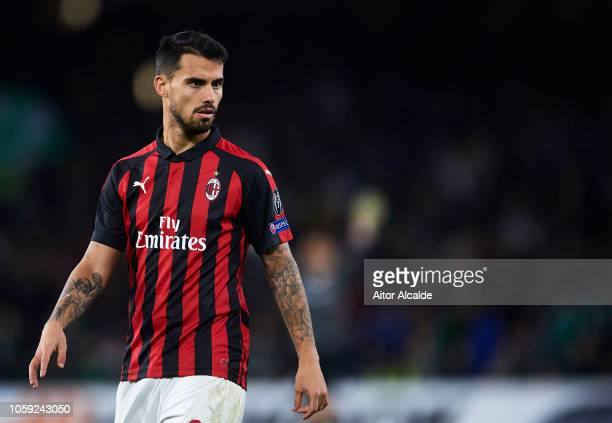 Suso of AC Milan looks on during the UEFA Europa League Group F match between Real Betis and AC Milan at Estadio Benito Villamarin on November 8 2018...