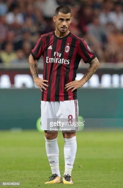 Suso of AC Milan looks on during the UEFA Europa League Qualifying PlayOffs round first leg match between AC Milan and KF Shkendija 79 at Stadio...