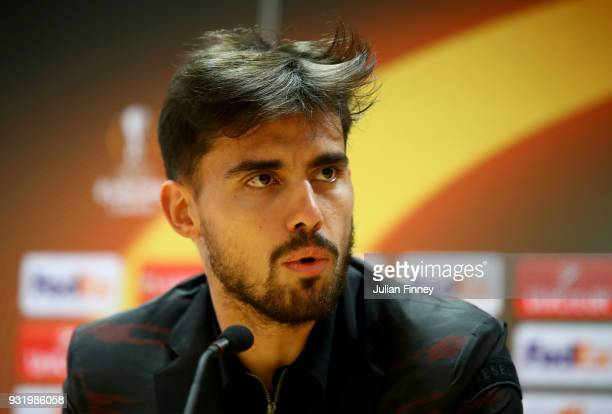 Suso of AC Milan speaks to the media during the AC Milan Press Conference at Emirates Stadium on March 14 2018 in London England