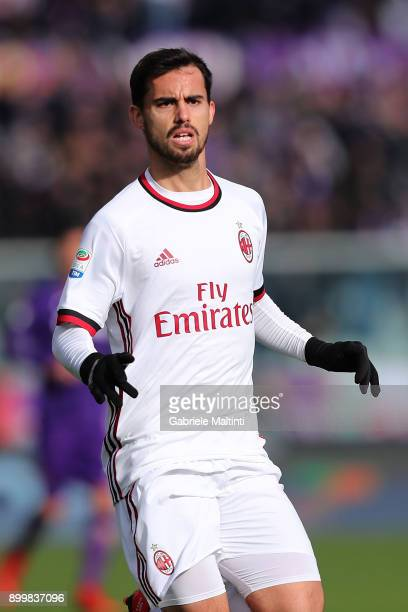 Suso of AS Milan in action during the serie A match between ACF Fiorentina and AC Milan at Stadio Artemio Franchi on December 30 2017 in Florence...