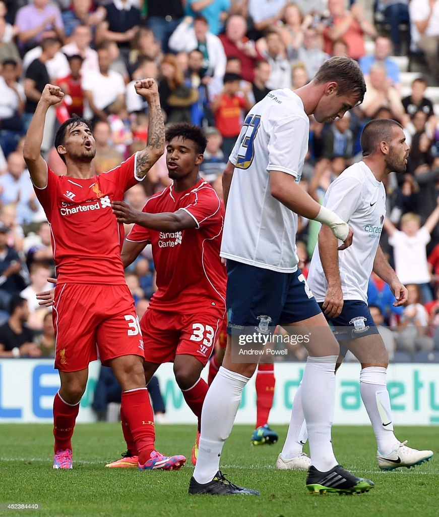 Suso of Liverpool celebrates after scoring the equlising goal during the Pre Season friendly match between Preston North End and Liverpool at Deepdale on July 19, 2014 in Preston, Lancashire.
