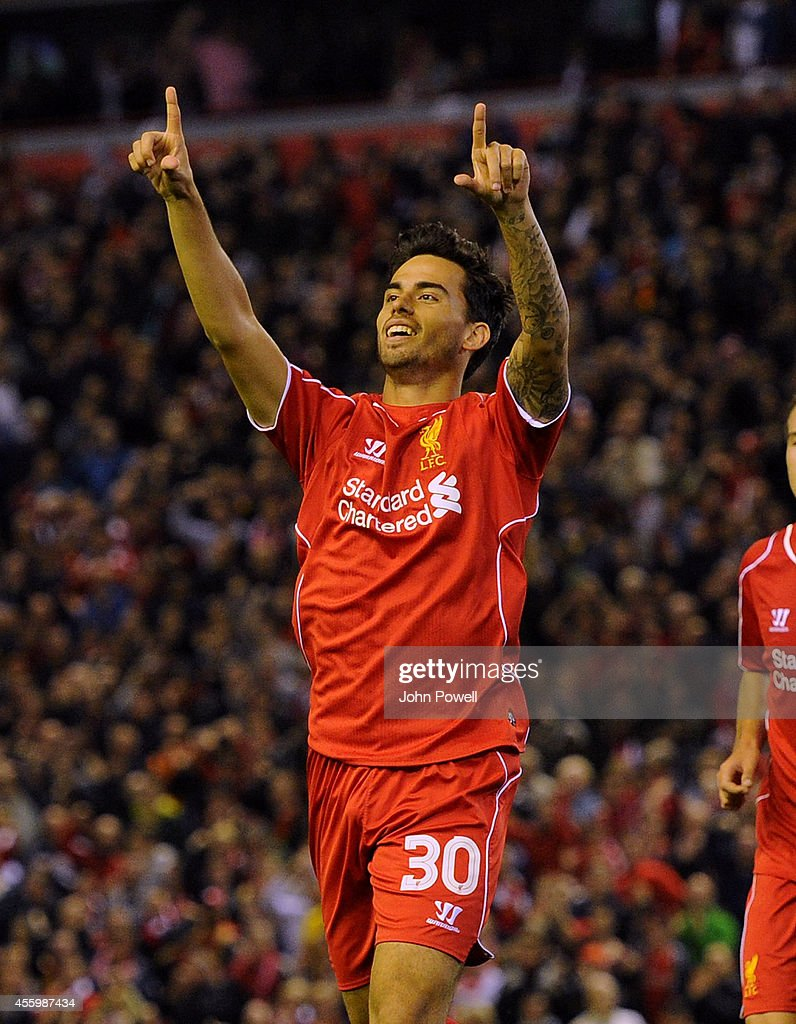 Suso of Liverpool celebrates his goal during the Capital One Cup Third Round match between Liverpool and Middlesbrough at Anfield on September 23, 2014 in Liverpool, England.