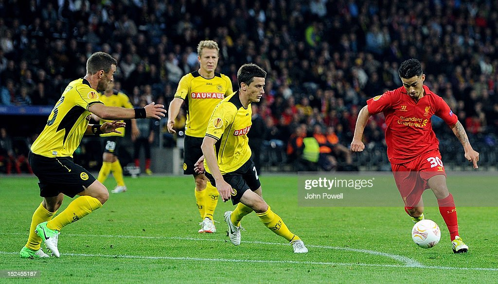 Suso of Liverpool powers through during the UEFA Europa League match between BSC Young Boys and Liverpool FC at Stade de Suisse, Wankdorf on September 20, 2012 in Bern, Switzerland.
