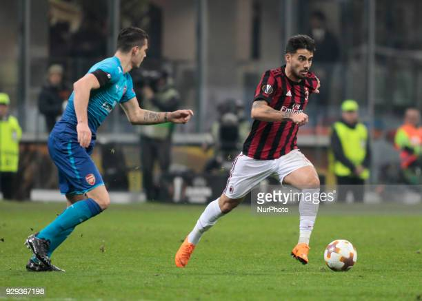 Suso of Milan AC during the UEFA Europa League Round of 16 match between AC Milan and Arsenal at the San Siro on March 8 2018 in Milan Italy
