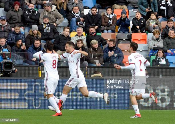 Suso of Milan celebrates after scoring his operning goal during the serie A match between Udinese Calcio and AC Milan at Stadio Friuli on February 4...