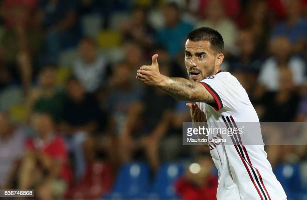 Suso of Milan gestures during the Serie A match between FC Crotone and AC Milan on August 20 2017 in Crotone Italy