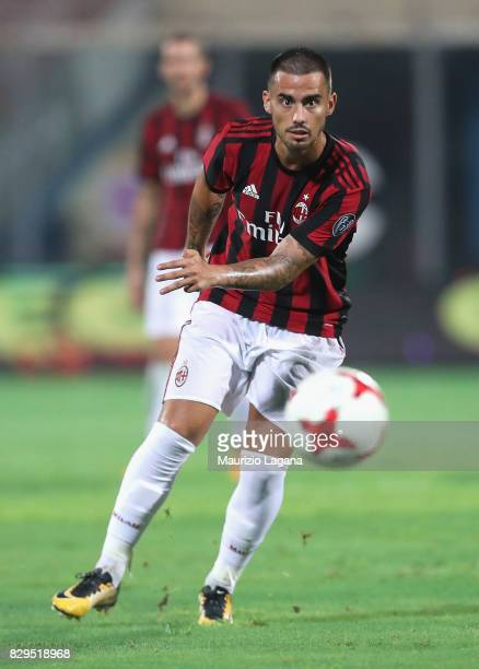 Suso of Millan during the PreSeason Friendly match between AC Milan and Villareal at Stadio Angelo Massimino on August 9 2017 in Catania Italy