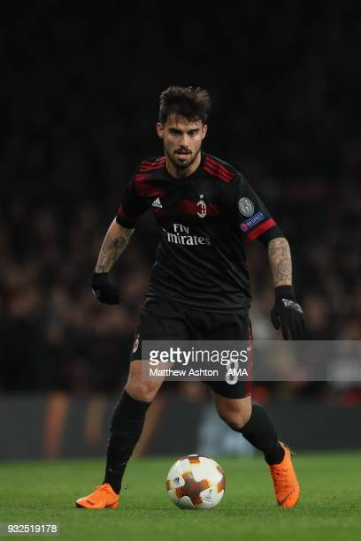 Suso of of AC Milan during the UEFA Europa League Round of 16 Second Leg match between Arsenal and AC Milan at Emirates Stadium on March 15 2018 in...