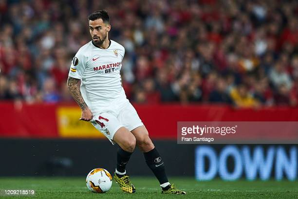 Suso of Sevilla FC in action during the UEFA Europa League round of 32 second leg match between Sevilla FC and CFR Cluj at Estadio Ramon Sanchez...