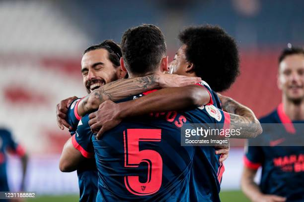 Suso of Sevilla FC, Lucas Ocampos of Sevilla FC, Jules Kounde of Sevilla FC celebrates goal 0-1 during the Spanish Copa del Rey match between UD...