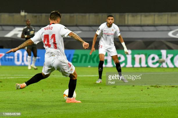 Suso of Sevilla FC scores his team's first goal during the UEFA Europa League Semi Final between Sevilla and Manchester United at RheinEnergieStadion...