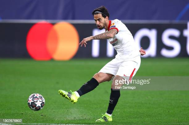 Suso of Sevilla scores his team's first goal during the UEFA Champions League Round of 16 match between Sevilla FC and Borussia Dortmund at Estadio...