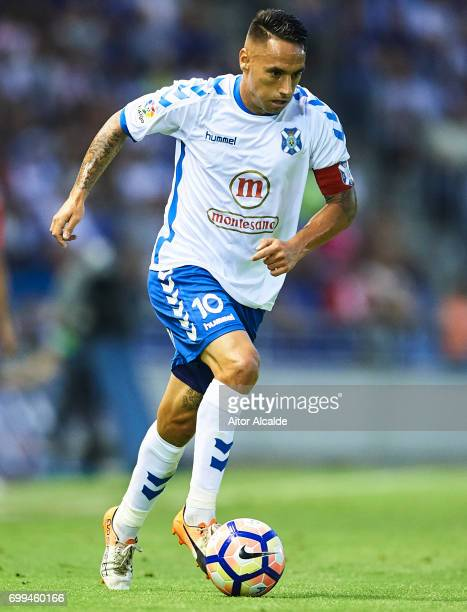 Suso Santana of CD Tenerife in action during La Liga 2 play off round between CD Tenerife and Getafe CF at Heliodoro Rodriguez Lopez Stadium on June...