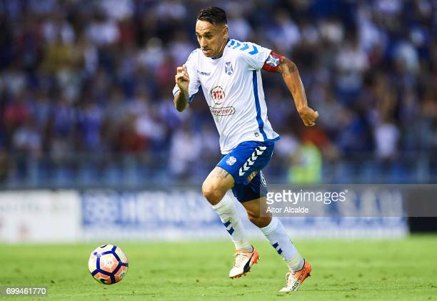 Suso Santana of CD Tenerife in action during La Liga 2 play off round between CD Tenerife and Getafe CF at Heliodoro Rodriguez Lopez Stadium on June...