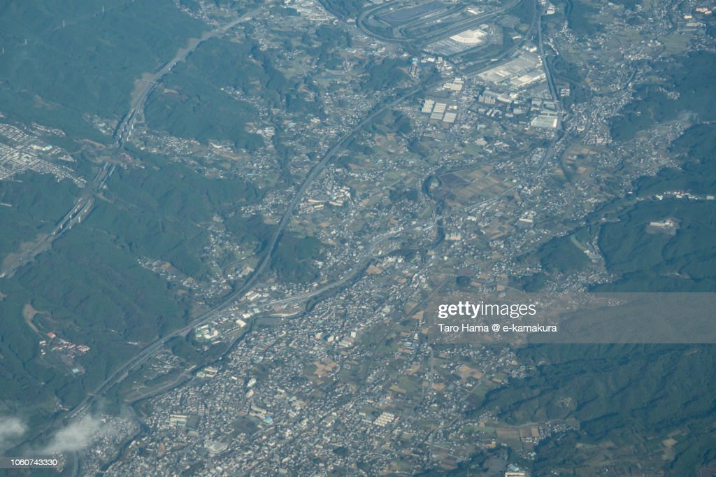 Susono city in Shizuoka prefecture in Japan daytime aerial view from airplane : ストックフォト