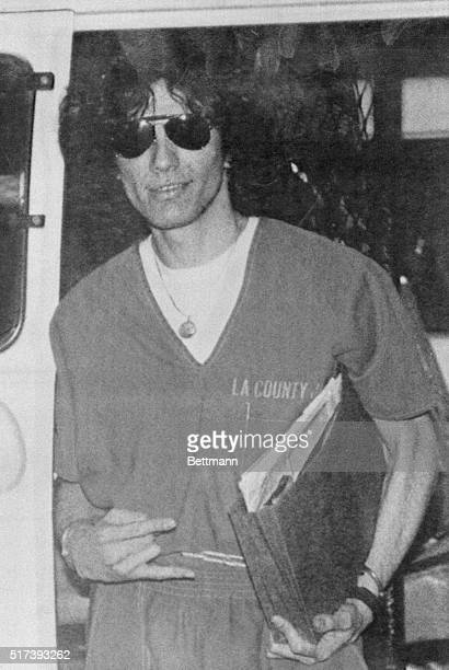 Suspect Richard Ramirez accused of being the Los Angeles area serial killer called the Night Stalker is led from the courthouse following his...
