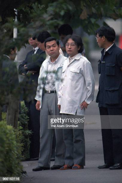 Suspect Tsutomu Miyazaki is taken to the investigation on August 20, 1989 in Tokyo, Japan.