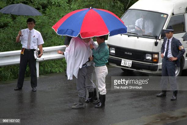 Suspect Tsutomu Miyazaki is taken to the investigation on August 27, 1989 in Hanno, Saitama, Japan.