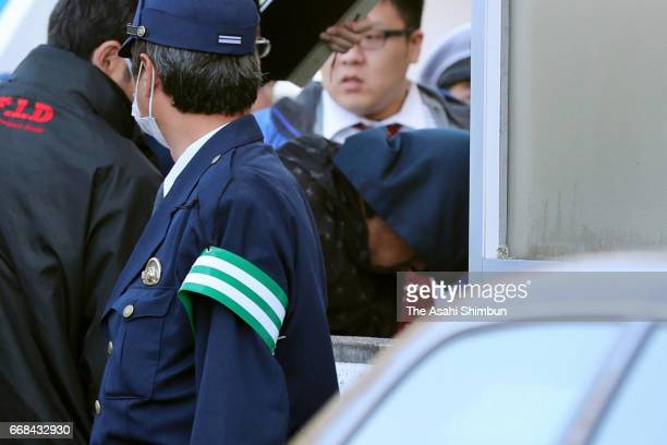 Suspect Yasumasa Shibuya arrives at Abiko Police Station after his arrest on April 14, 2017 in Abiko, Chiba, Japan. 9-year-old Vietnamese girl Le Thi...