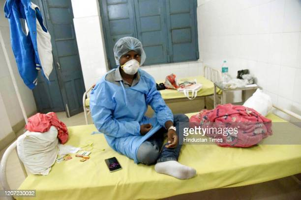 Suspected coronavirus patient in the isolation ward at Patna Medical College and Hospital, on March 14, 2020 in Patna, India. The Delhi government...