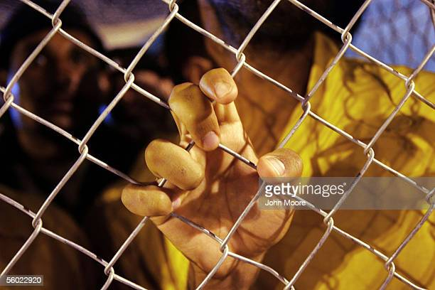 Suspected foreign insurgents stand inside their pen in the Abu Ghraib Prison October 27 2005 which is located on the outskirts of Baghdad Iraq With...