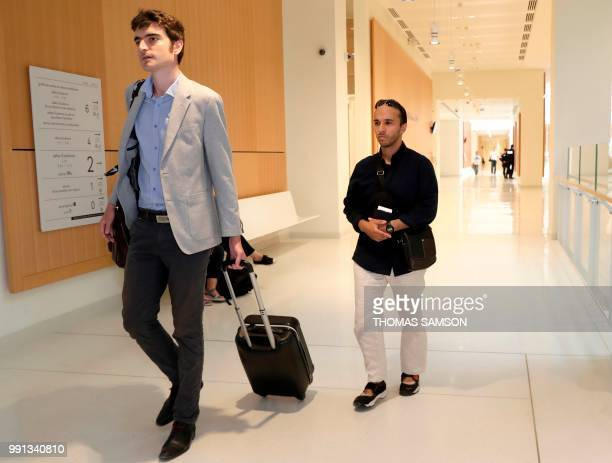 Suspected Islamic extremist Farouk Ben Abbes arrives with his lawyer Vincent Brengarth at 'Palais de Justice' courthouse in Paris on July 4 2018...