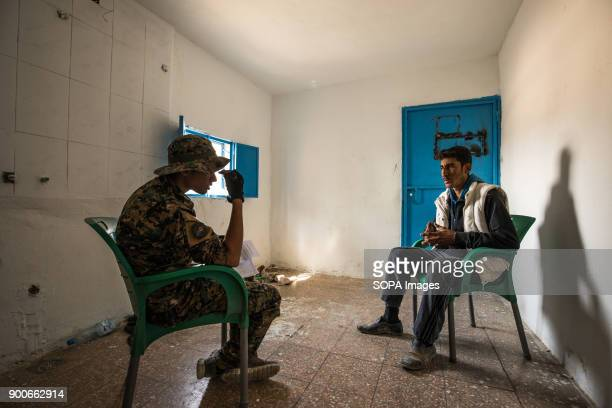 Suspected member of Islamic State group jihadists is being interrogated by YPG antiterror unit in Raqqa The Syrian civil war has been carried on for...