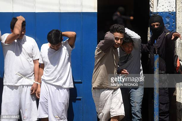 Suspected members of the gang 18 accused of several crimes are presented to the media after being captured by antigang police forces in San Salvador...