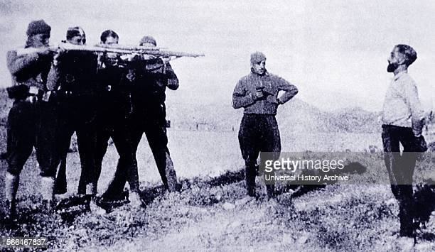 A suspected nationalist spy is executed in the Catalan area by a Republican firing squad during the Spanish Civil War
