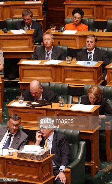 Suspended ACT MP Donna Awatere Huata takes her seat at the back behind the main ACT MP's before the new session of Parliament began in Wellington...