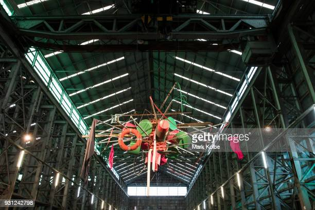 A suspended artwork by Abraham Cruzvillegas is seen as part of the 31st Biennale of Sydney at Cockatoo Island on March 13 2018 in Sydney Australia