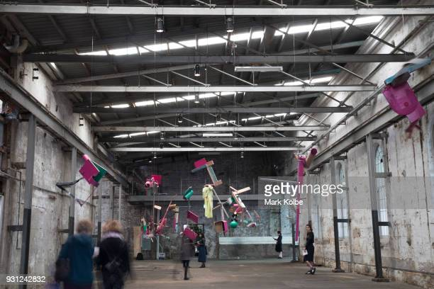 Suspended artworks by Abraham Cruzvillegas are seen as part of the 31st Biennale of Sydney at Cockatoo Island on March 13 2018 in Sydney Australia